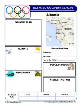 Summer Olympics Country Report Set:  Take Advantage of the Rio Olympic Games with this set of Summer Olympic Country Report Templates to…