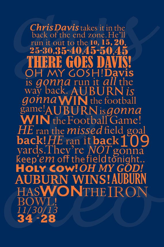 Auburn Wins the Iron Bowl -Radio Call Print  https://www.etsy.com/listing/171636763/auburn-iron-bowl-mini-print-5-x-7?