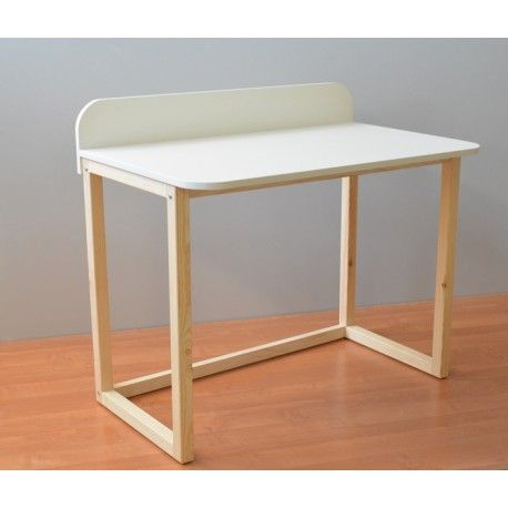 White desk on solid woodem pine construction. Rounded edge + small partition makes you working comfortable. www.meblewomeb.pl
