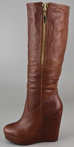 Cognac Platform Wedge Boots