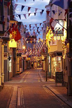St Alban Street at dusk, Weymouth, Dorset, England