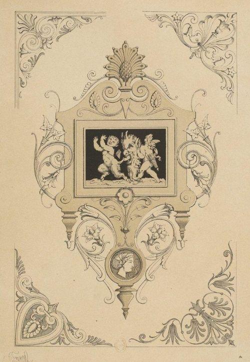 M. Liénard, « Cartouche et coins : genre néo-grec », pl. C16 des Spécimens, 1866.