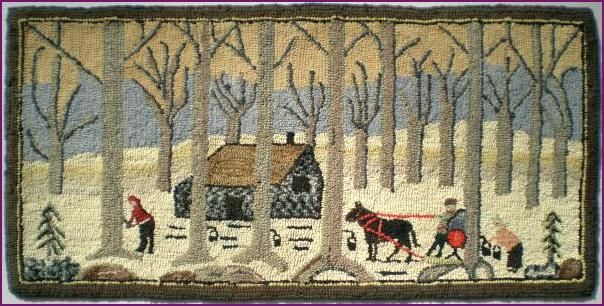 Maple Syrup Time Hooked Rug - Quebec c.1950