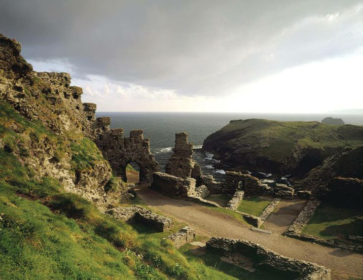 Tintagel Castle, the legendary birthplace of King Arthur, perched on a cliff top on Cornwall's rugged north coast. Photo - English Heritage.
