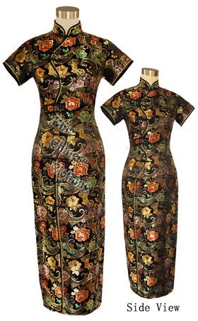 Big picture of Chinese Beautiful Brocade Party Dress - Black