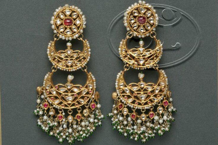 Pearl with Kundan Chandbali earring