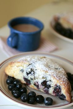 Good blueberry scones.  We substituted buttermilk for the sour cream/cream mixture and orange for the lemon zest.