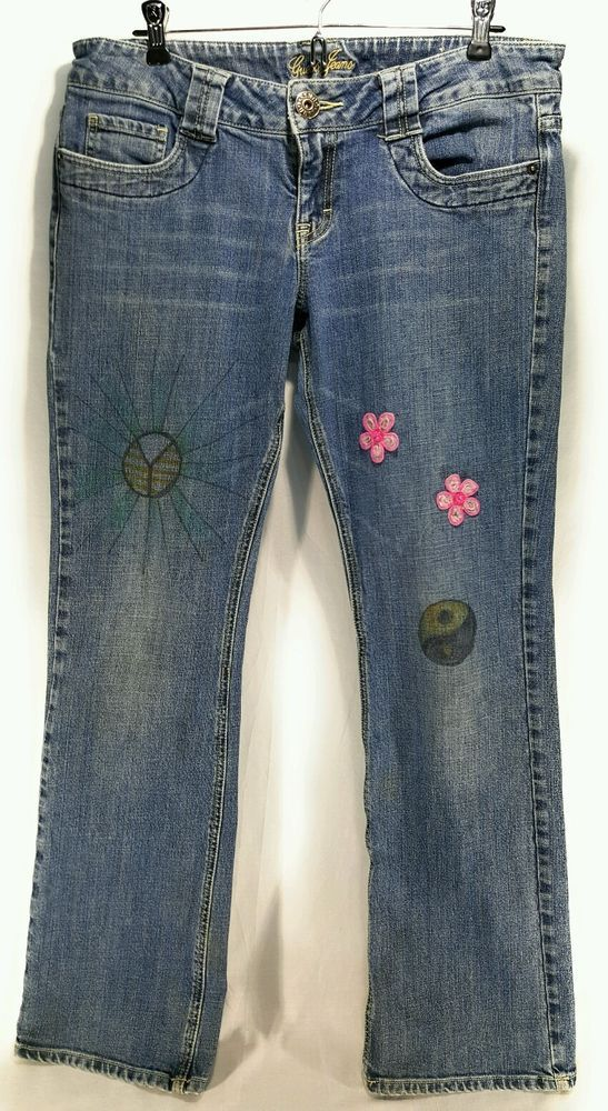 Guess Jeans Womens Size 32 Stretch Peace Sign Flowers Ying Yang  | Clothing, Shoes & Accessories, Women's Clothing, Jeans | eBay!