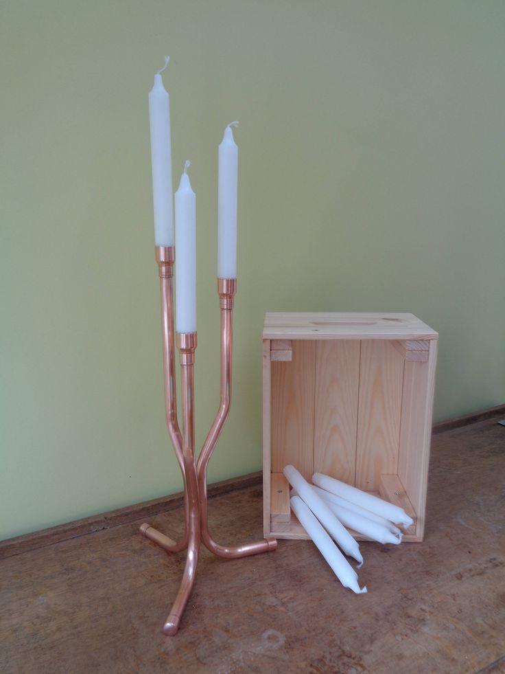 Copper Candelabra (3 candle) by CopperandMason on Etsy