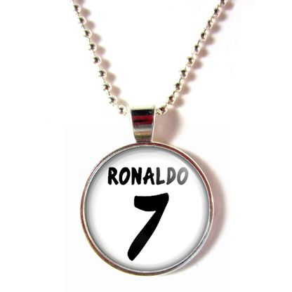 Cristiano Ronaldo Cabochon Glass #7 Real Madrid 2013-2014 Home Jersey Necklace