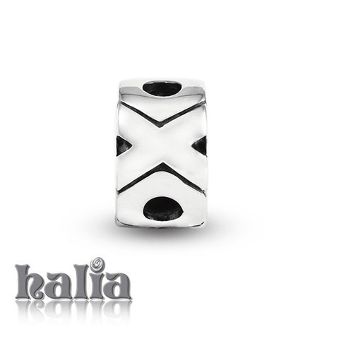 X O X: Hugs & kisses spacer bead: designed exclusively by Halia, this bead fits other popular bead-style charm bracelets as well. Sterling silver, hypo-allergenic and nickel free.     $35.00