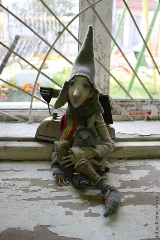 Купить Домашний эльф Дасти - серый, эльф, домовой, подарок на новоселье, оберег, авторская кукла