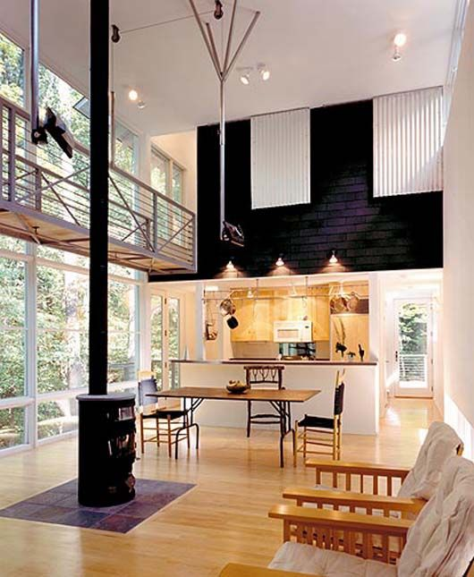 Modern Tiny House Decorating Glass Wall Design
