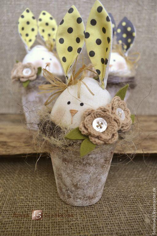 Купить Зайка в горшочке - белый, зайка, зайчик, заяц, зайцы, зайки, заяц текстильный, Пасха