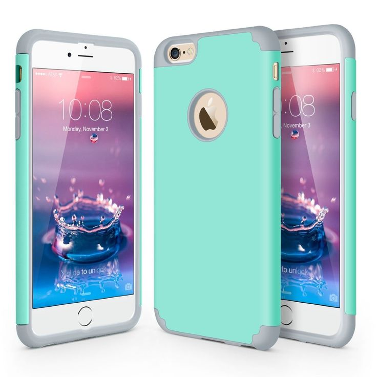 iPhone 6 Case iPhone 6S Case, J.west 2 in 1 Hard Shell and Soft Silicone Cases Slim Hybrid Dual Layer Bumper Shock Absorption Cover for Apple iPhone 6/6S 4.7 inch, Mint Green+Gray. Compatible with Apple iPhone 6/6S 4.7 inch, Not Compatible with other phon