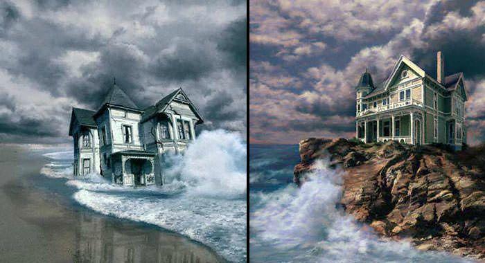 En los dos tipos de cimiento hay un pronostico: fuertes lluvias, vientos, tempestades, pero la diferencia.. Construye tu casa sobre la roca o sobre la arena