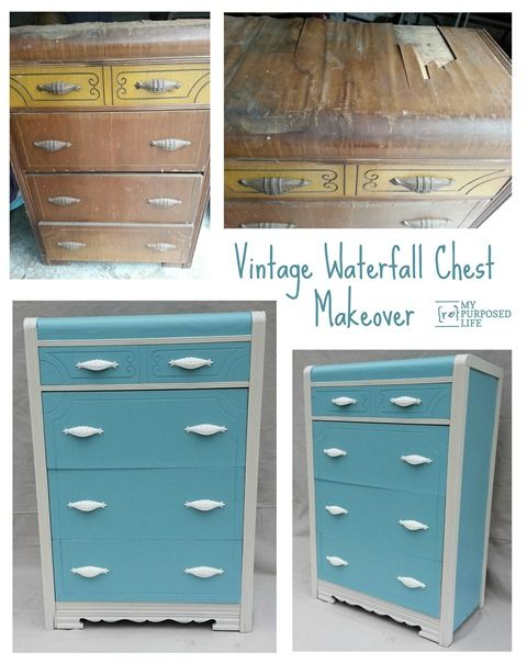 My Repurposed Life rescued this waterfall dresser (chest of drawers) from a fate worse than death. A little paint and tlc and the dresser gets to live out it's life with a purpose.