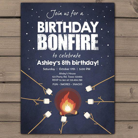 Birthday bonfire invitation Bonfire party door Anietillustration                                                                                                                                                     More