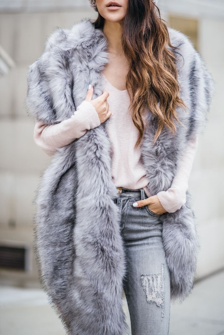 Faux Fur Stole - Chic Cold Weather Accessories // Notjessfashion.com // faux fur scarf, gray scarf, monochromatic gray outfit, casual winter look, cozy winter outfit, gray distressed jeans, nyc fashion, blogger, asian fashion blogger, jessica wang, cold weather accessories