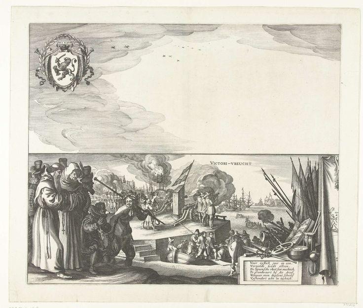 Claes Jansz. Visscher (II) | De grote zeeslag bij Duins (plaat 5), 1639, Claes Jansz. Visscher (II), 1640 - 1643 | Grote voorstelling van de zeeslag bij Duins tussen de Spaanse vloot onder bevel van Antonio de Oquendo en de Staatse vloot onder Maarten Harpertsz. Tromp, 21 oktober 1639. Blad 5: voorstelling in tweeën gedeeld. Bovenaan de lucht met het wapen van de Generaliteit. Daaronder geketende gevangen Spanjaarden en monniken aan de wal, saluutschoten en vreugdevuren bij de viering van de…