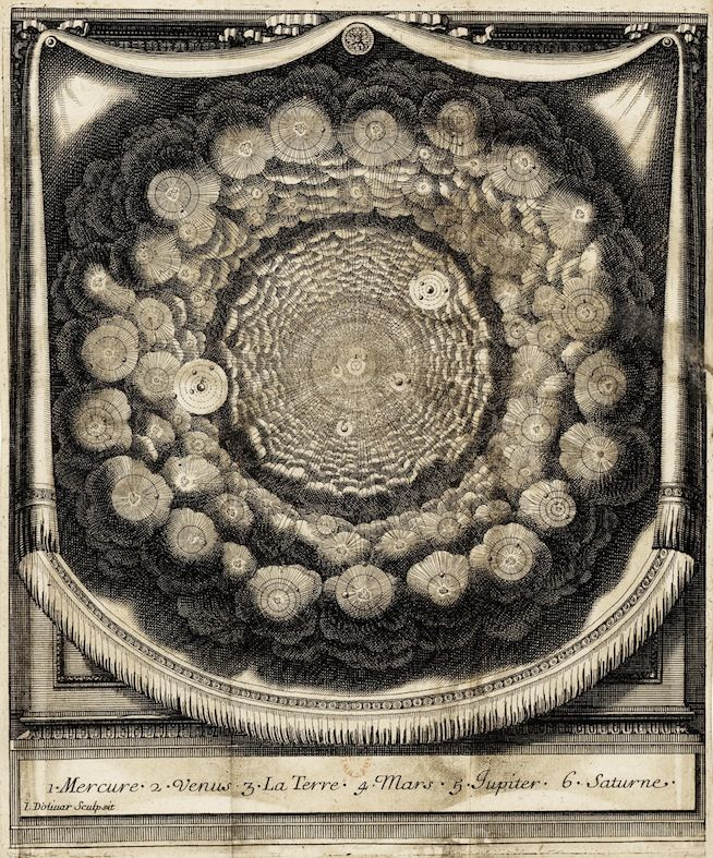"""Engraving from """"Conversations on the Plurality of Worlds"""" (1686)"""