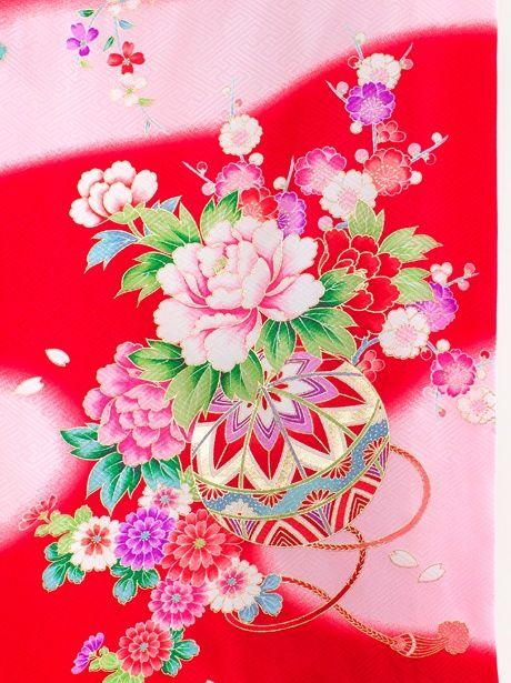 【お宮参り・産着5点フルセット】赤地に鼓と牡丹の祝い着/女児《赤ちゃんの宮参りに》上品な色遣いが綺麗な初着/レッド