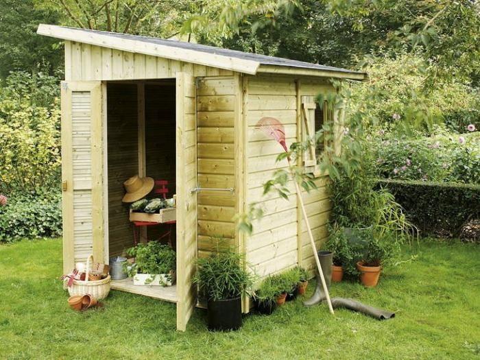 cabanon de jardin, toiture inclinée en 2020   Cabanon de jardin, Abri de jardin, Jardins en bois