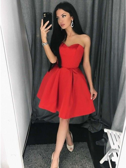 c0a9b486c4 Simple Strapless Sweetheart Red Short Homecoming Dress with Pleats ...