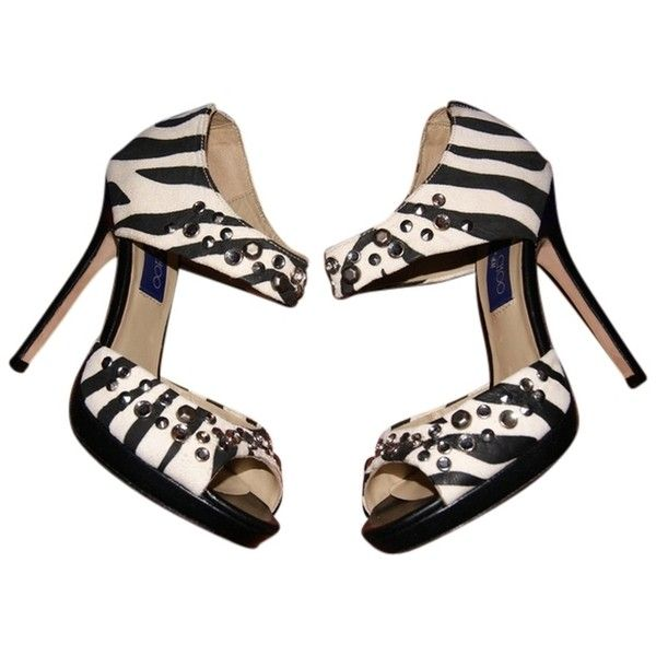 Pre-owned Jimmy Choo New X H&m Bonnie Zebra Print Black And White... ($230) ❤ liked on Polyvore