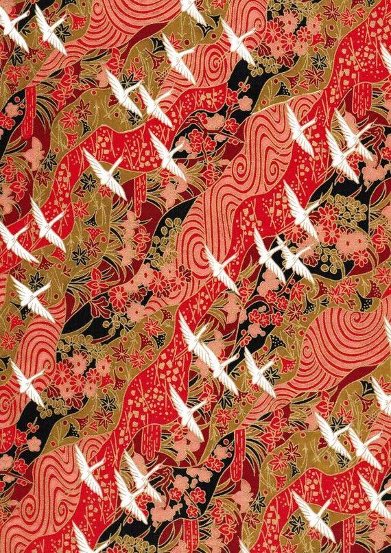 Japanese Yuzen Chiyogami Washi Paper (Crane Design 03) - A4 Sheet