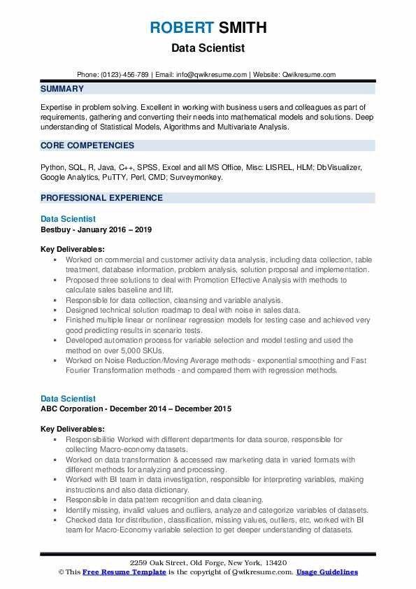 Data Scientist Resume Samples Qwikresume Data Scientist Job Resume Samples Resume Template