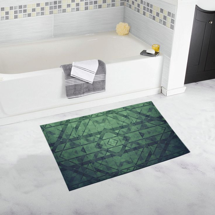 Sci-Fi Green Monster  Geometric design Bath Rug 20''x 32'' #bathmat #bathrug #mat #rug #geometric #artsadd #green #family #onlineshopping #style #39 #art #gifts #giftsforher #giftsforhim #homegifts #buybathmats #bathmats #coolbathmat #bathroom #bath #bathroomgifts #homegifts #home #modernhome
