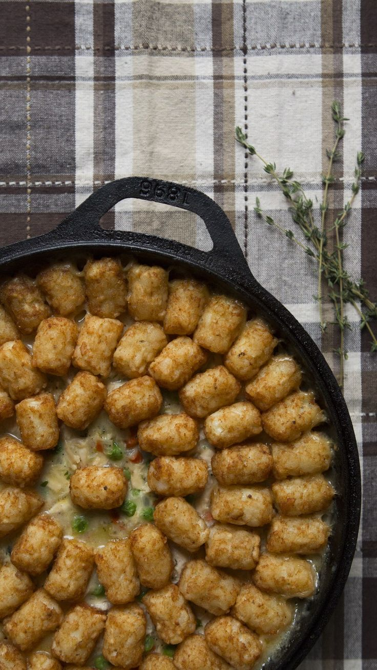 Tater tots are more than just a side dish. Topped on chicken pot pie, they bring on the ultimate comfort.