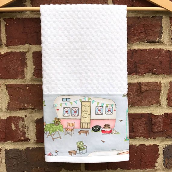 RV Camper Bathroom Towel, Kitchen Dish Towel, Mother's Day Waffle Weave Kitchen Tea Hand Towel in White, Old Travel Trailers, Happy Camper