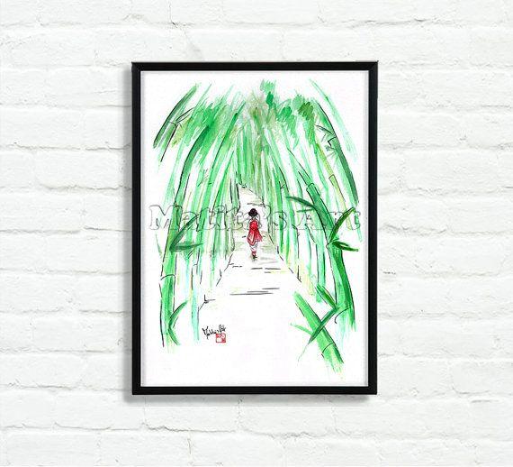 Geisha in Bamboo Forest by Matita's Art - Illustration of Martina Gallo - Japanese illustration