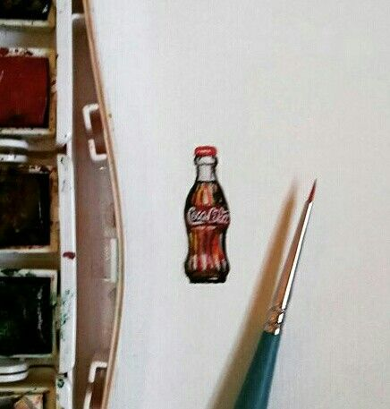 Coca Cola Miniature Watercolor by Lalaine Garcia #lalainegarcia #miniaturewatercolor