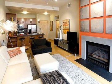 Portland Pearl District Condo Living Room Fireplace With Custom Wall Treatment