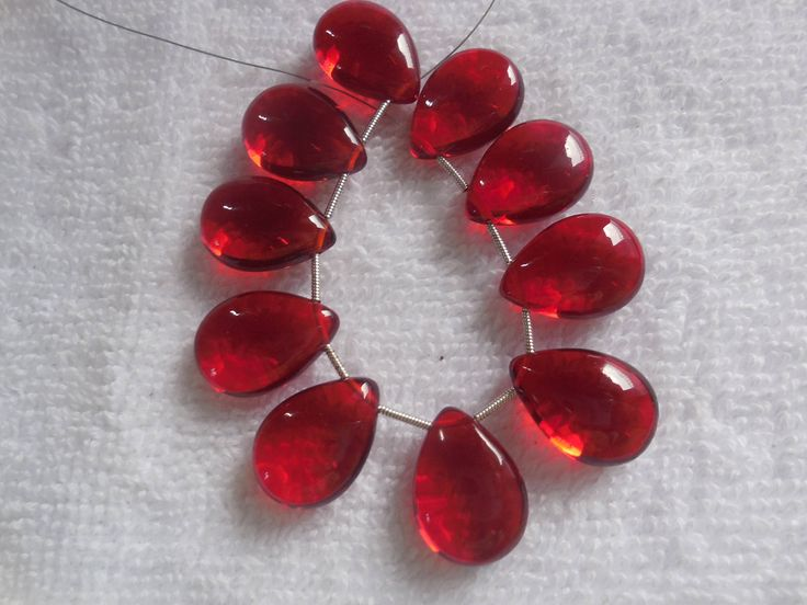 10Psc Red Quartz Smooth Briolette,Hydro quartz Side Drilled Pear Beads,Jewellry making Beads Size 14x20MM by InternationalByBeads on Etsy