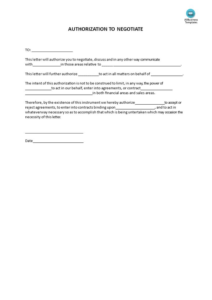 Authorization to negotiate - Do you need a Writer's authorization to Negotiate? Download this professional Authorization to negotiate template now!