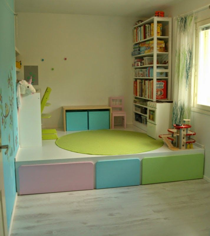 Attractive Floor Bed With Storage Part - 14: Great Kids Room Diy: Pull Out Beds And Storage Underneath Elevated Floor.  More Pics