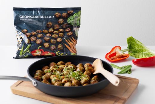 IKEA - Easy to prepare from frozen.  The new veggie ball, GRÖNSAKSBULLAR, is a good alternative to the loved meatball, which was re-launched in 2014 with a new hormone and antibiotic free recipe. The veggie ball derives its rich taste from hearty pieces of vegetables. The recipe is vegan friendly, made without gluten and will cost $5.99 for an eight piece meal. A new delicious menu of seasonal side dish options will be offered for the veggie ball meal.