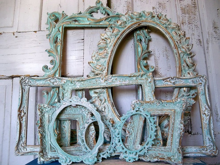 Aqua white ornate frame grouping, vintage antique mix distressed Baroque gesso styles  anita spero. $400.00, via Etsy.