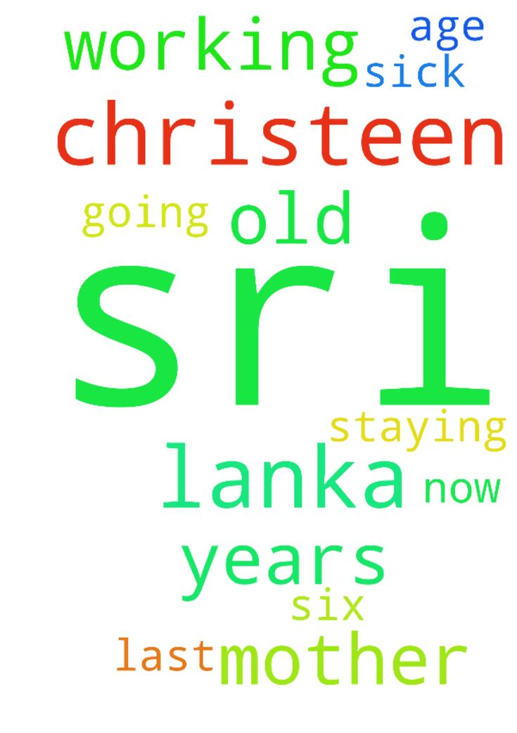 Christeen is from Sri Lanka and she has been working - Christeen is from Sri Lanka and she has been working for us for the last six years. Her mother is now about 73 years old and is staying in Sri Lanka. Please pray for Christeens mother as she is sick and going through old age.  Posted at: https://prayerrequest.com/t/FF4 #pray #prayer #request #prayerrequest