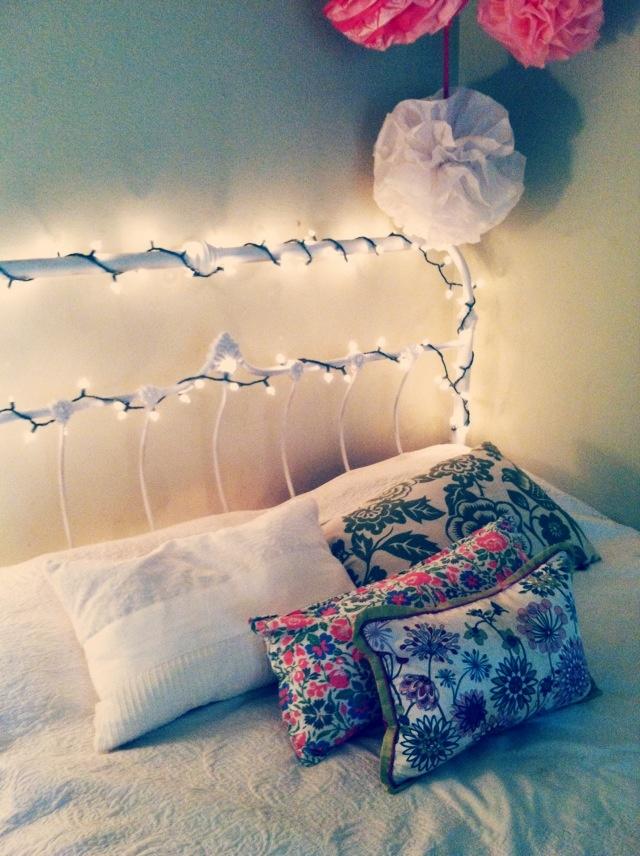 Lights on rod iron bed frame
