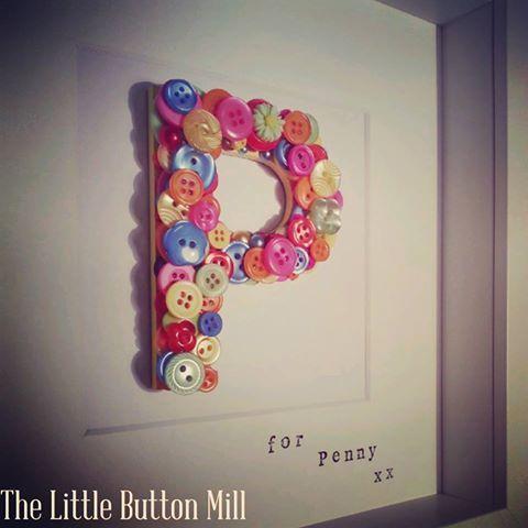 Bespoke button letter box framed art in 'tutti frutti' £20 plus postage www.facebook.com/thelittlebuttonmill  #thecraftroom #thelittlebuttonmill #boxframes #smallbiz #buttons #letters #gifts