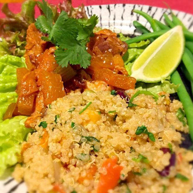 レシピとお料理がひらめくSnapDish - 24件のもぐもぐ - ハワイアンチキン、パクチーライムキヌア添え。Slow cooker Hawaiian Hula Chicken with Cilantro Lime Quinoa. by Sayaka Jinsenji Hulette