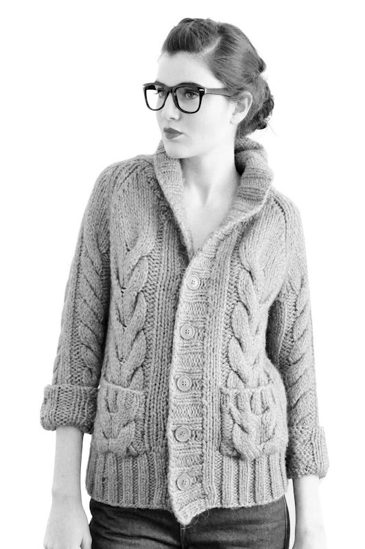 ...cabled cardigan...