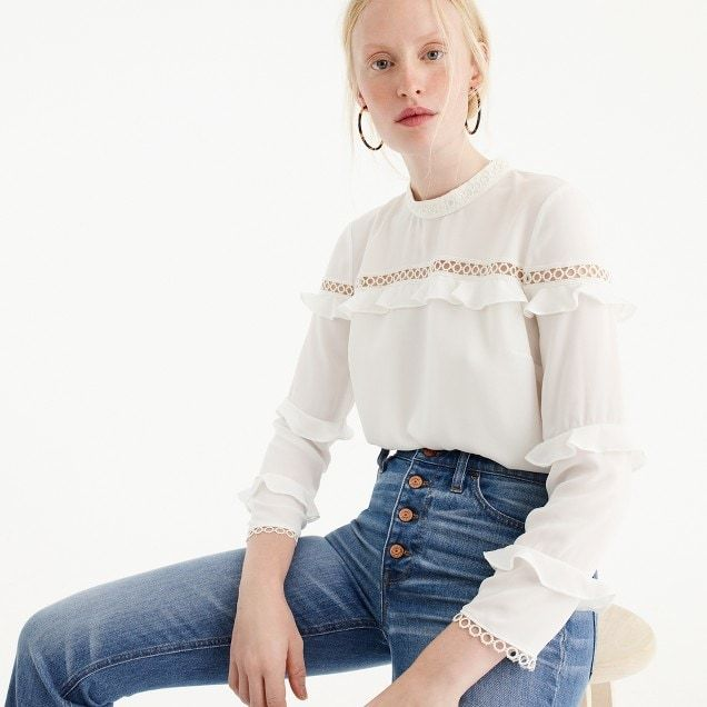 Tiered ruffle top with scalloped lace trim