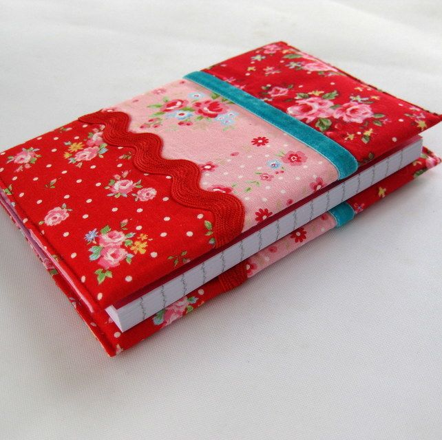 Handmade A6 Notebook Padded Fabric Cover in Red and Pink Vintage Florals £8.00