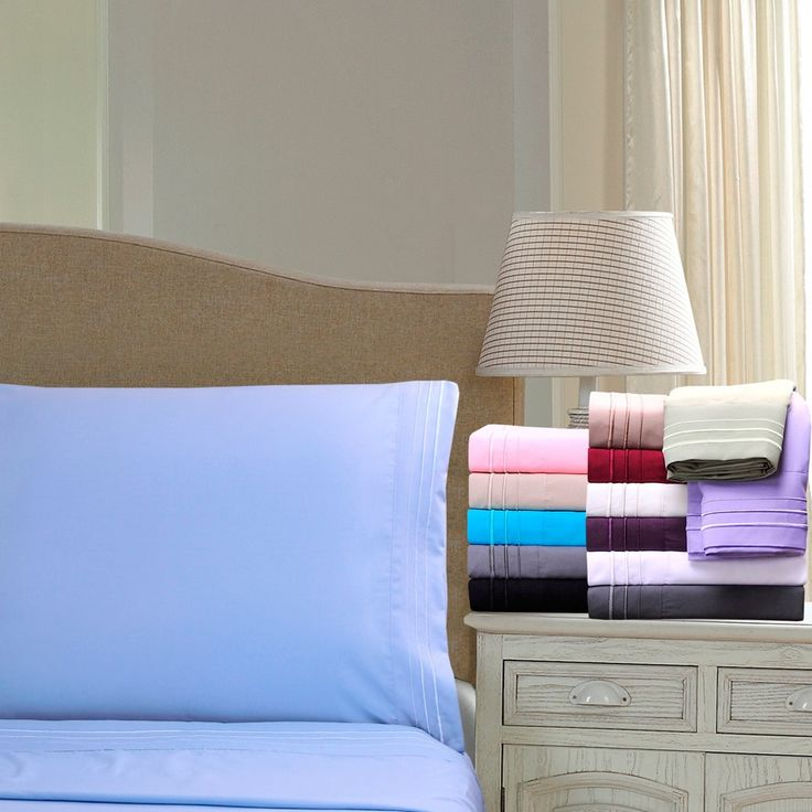 Superior Wrinkle Resistant Embroidered Triple Line Deep Pocket Queen Size Sheet Set in